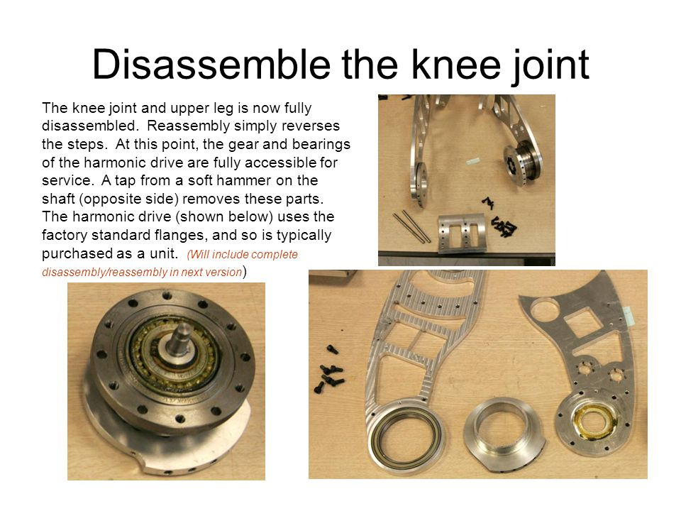 Disassemble the knee joint The knee joint and upper leg is now fully disassembled.