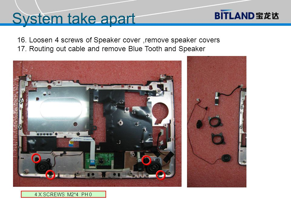16. Loosen 4 screws of Speaker cover,remove speaker covers 17.