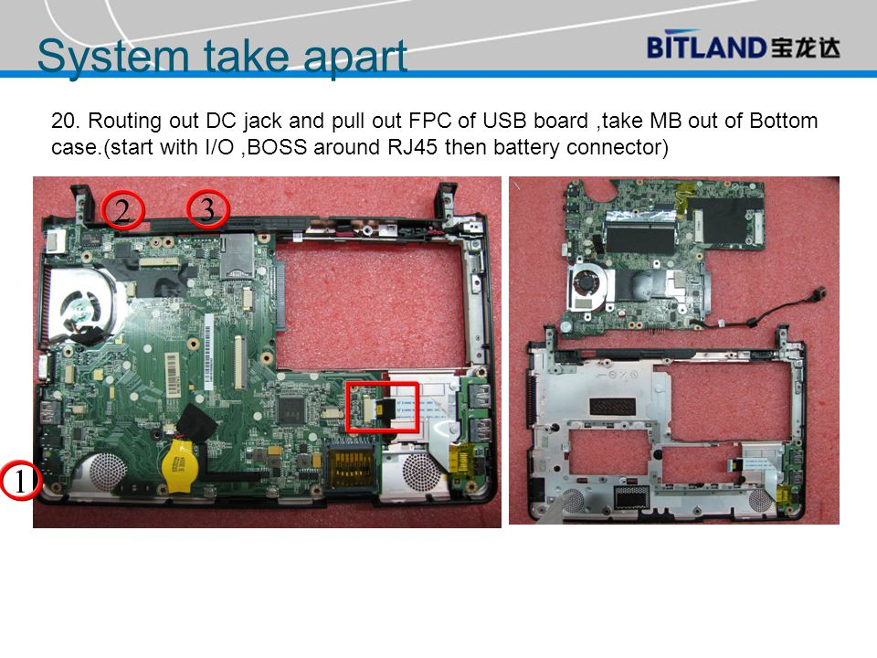20. Routing out DC jack and pull out FPC of USB board,take MB out of Bottom case.(start with I/O,BOSS around RJ45 then battery connector) 1 2 3 System