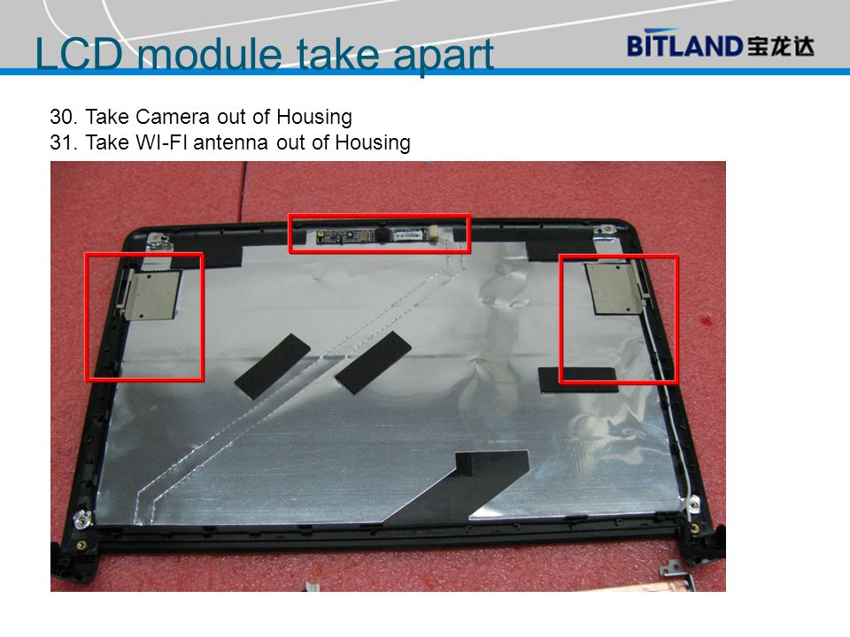 30. Take Camera out of Housing 31. Take WI-FI antenna out of Housing LCD module take apart