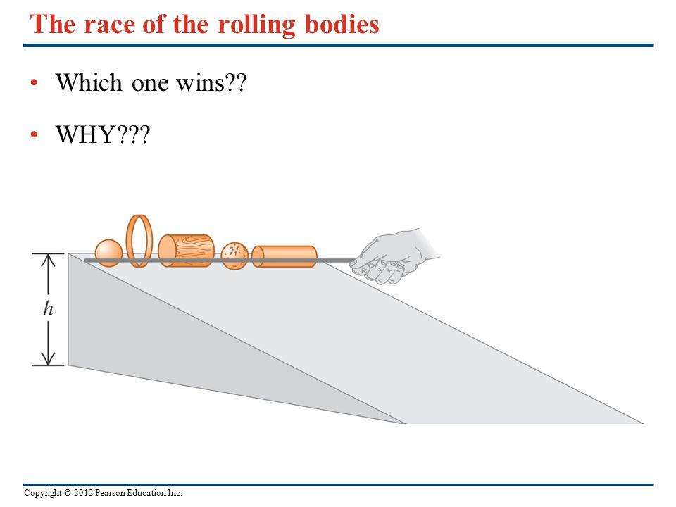 Copyright © 2012 Pearson Education Inc. The race of the rolling bodies Which one wins?? WHY???