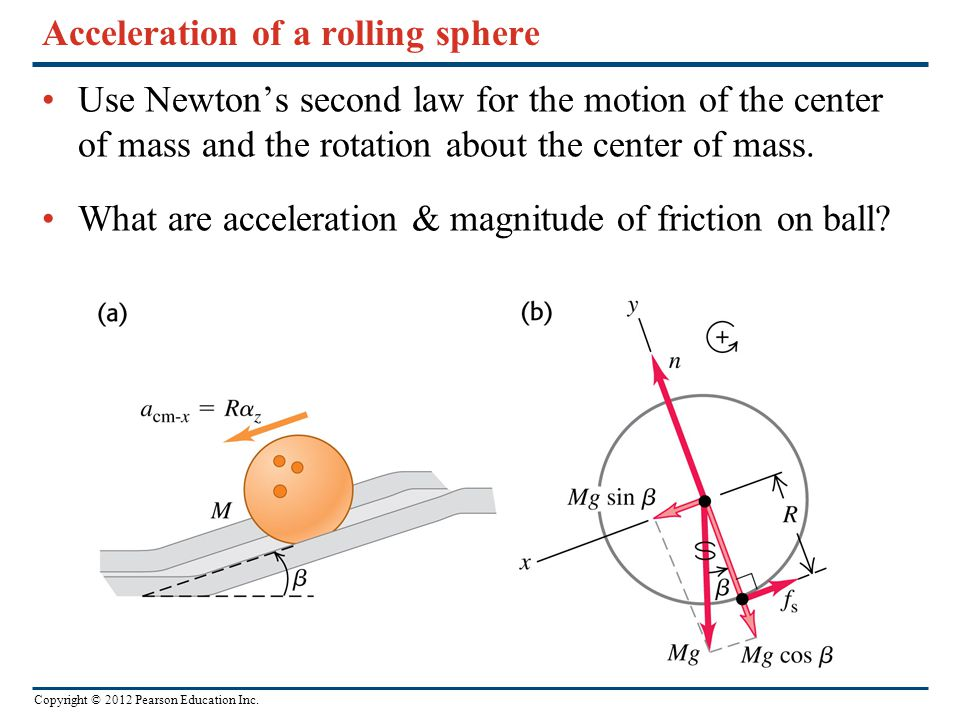 Copyright © 2012 Pearson Education Inc. Acceleration of a rolling sphere Use Newton's second law for the motion of the center of mass and the rotation