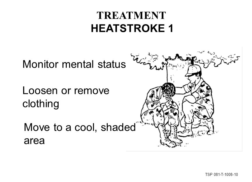 TSP 081-T-1008-10 TREATMENT HEATSTROKE 1 Move to a cool, shaded area Monitor mental status Loosen or remove clothing