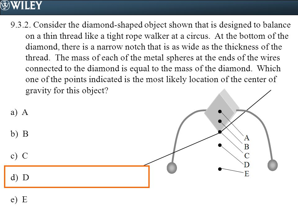 9.3.2. Consider the diamond-shaped object shown that is designed to balance on a thin thread like a tight rope walker at a circus. At the bottom of th