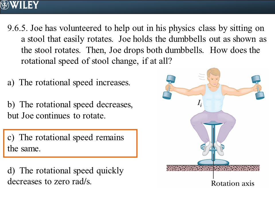 9.6.5. Joe has volunteered to help out in his physics class by sitting on a stool that easily rotates. Joe holds the dumbbells out as shown as the sto