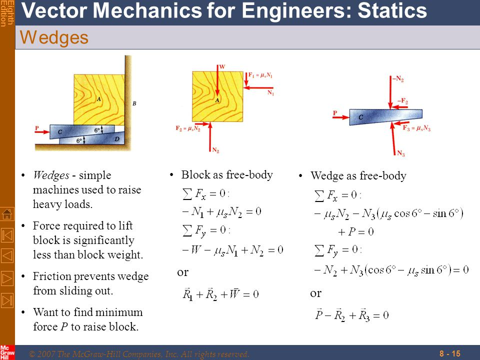 © 2007 The McGraw-Hill Companies, Inc. All rights reserved. Vector Mechanics for Engineers: Statics EighthEdition 8 - 15 Wedges Wedges - simple machin