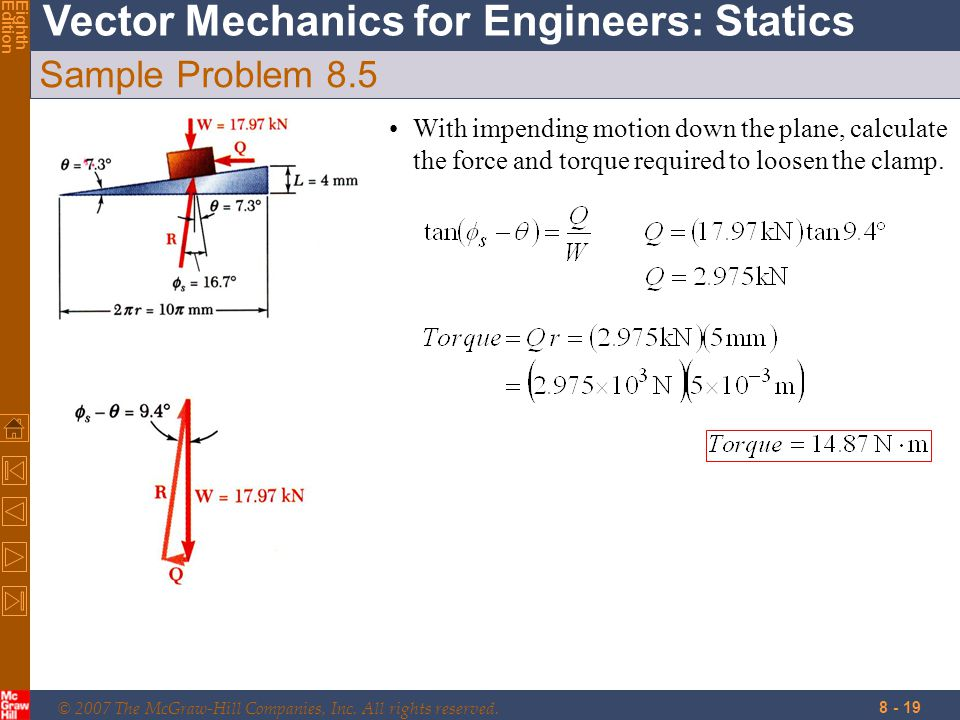© 2007 The McGraw-Hill Companies, Inc. All rights reserved. Vector Mechanics for Engineers: Statics EighthEdition 8 - 19 Sample Problem 8.5 With impen
