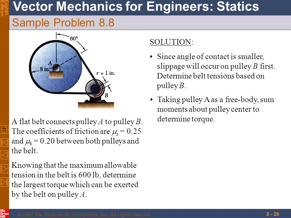 © 2007 The McGraw-Hill Companies, Inc. All rights reserved. Vector Mechanics for Engineers: Statics EighthEdition 8 - 29 Sample Problem 8.8 A flat bel