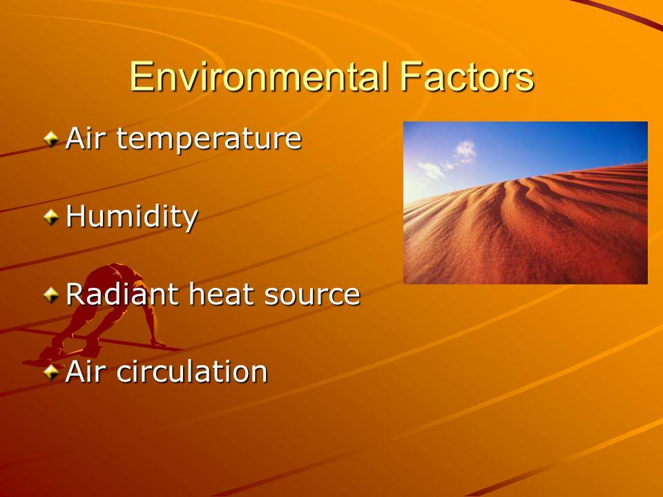 Environmental Factors Air temperature Humidity Radiant heat source Air circulation
