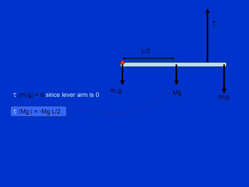  (Mg ) = -Mg L/2  (m 1 g) = 0 since lever arm is 0 L/2 T Mg m2gm2g m1gm1g