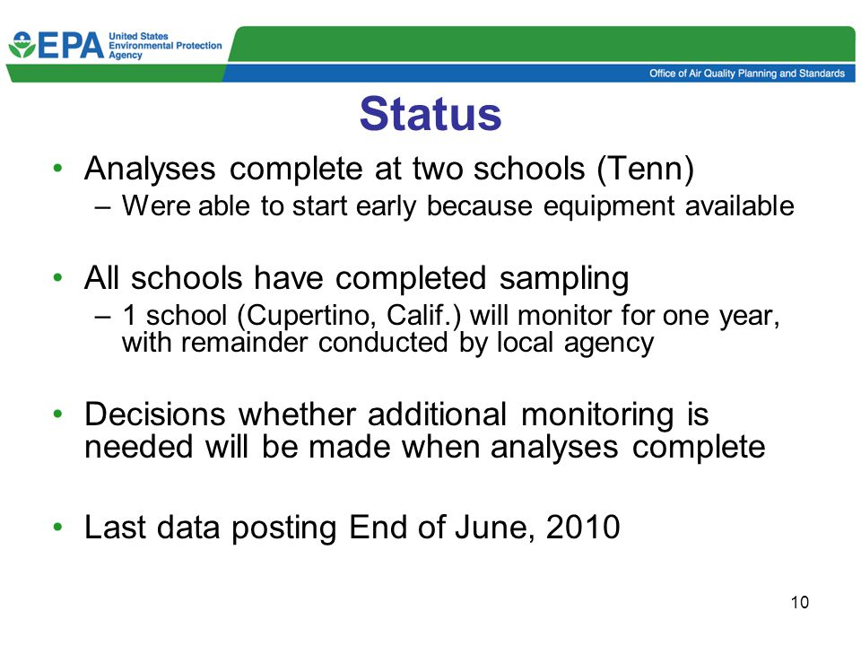 10 Status Analyses complete at two schools (Tenn) –Were able to start early because equipment available All schools have completed sampling –1 school (Cupertino, Calif.) will monitor for one year, with remainder conducted by local agency Decisions whether additional monitoring is needed will be made when analyses complete Last data posting End of June, 2010