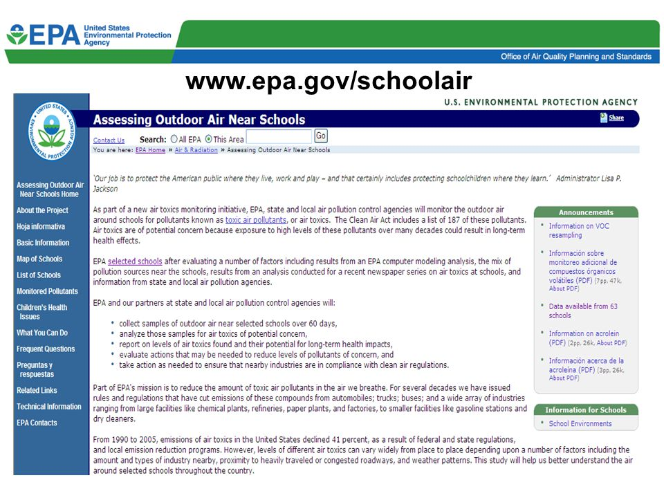 6 Results Posted to Web by School and Targeted Pollutant