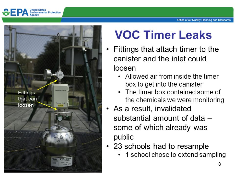8 VOC Timer Leaks Fittings that can loosen Fittings that attach timer to the canister and the inlet could loosen Allowed air from inside the timer box to get into the canister The timer box contained some of the chemicals we were monitoring As a result, invalidated substantial amount of data – some of which already was public 23 schools had to resample 1 school chose to extend sampling