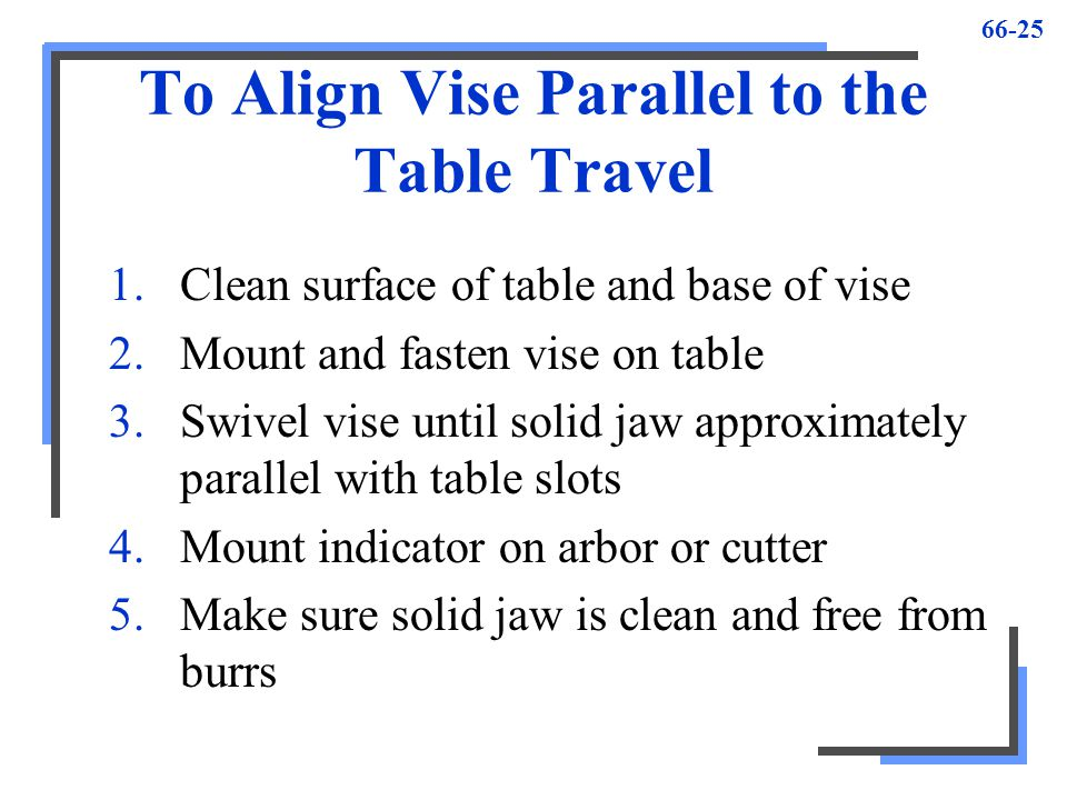 66-25 To Align Vise Parallel to the Table Travel 1.Clean surface of table and base of vise 2.Mount and fasten vise on table 3.Swivel vise until solid