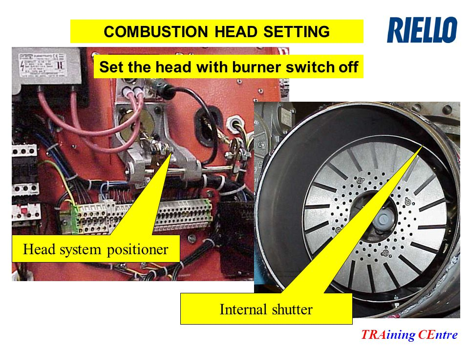 COMBUSTION HEAD SETTING Head system positioner Internal shutter Set the head with burner switch off