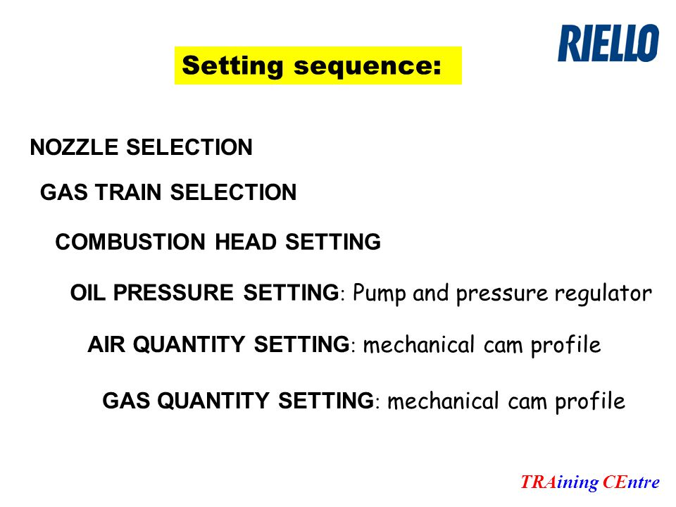 TRAining CEntre Setting sequence: OIL PRESSURE SETTING : Pump and pressure regulator AIR QUANTITY SETTING : mechanical cam profile NOZZLE SELECTION COMBUSTION HEAD SETTING GAS TRAIN SELECTION GAS QUANTITY SETTING : mechanical cam profile