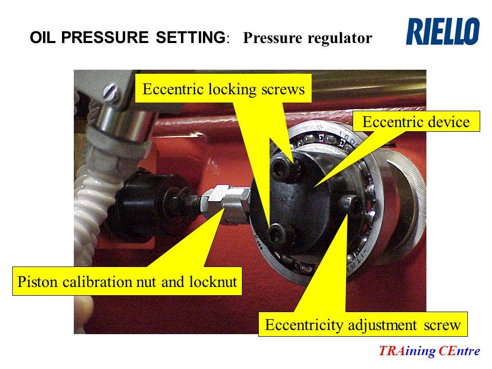 OIL PRESSURE SETTING : TRAining CEntre Pressure regulator Eccentricity adjustment screw Piston calibration nut and locknut Eccentric locking screws Eccentric device