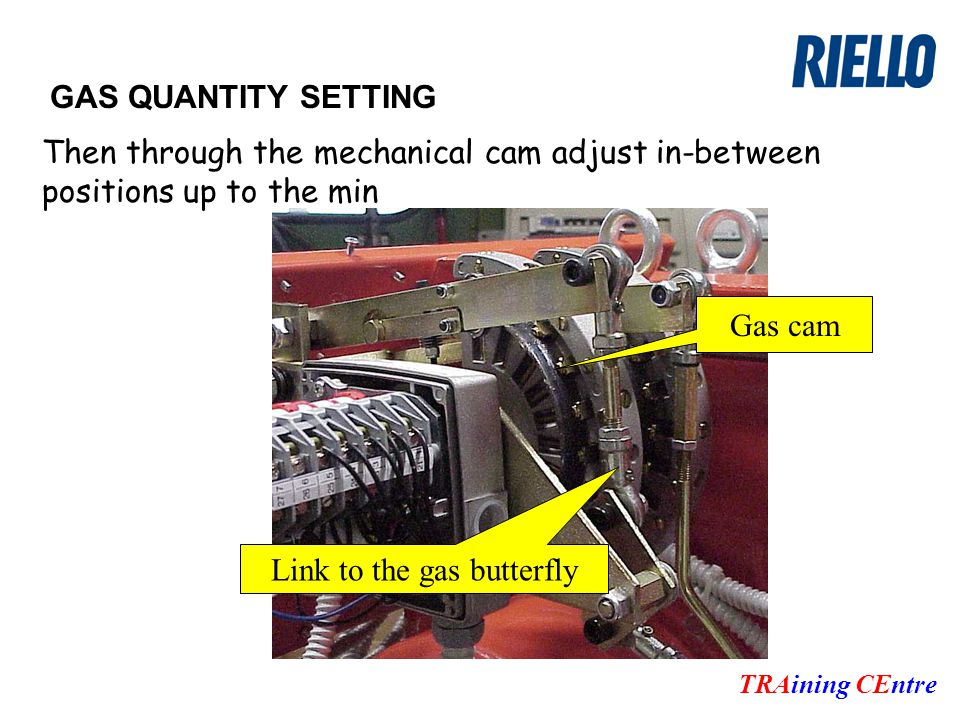 GAS QUANTITY SETTING TRAining CEntre Then through the mechanical cam adjust in-between positions up to the min Gas cam Link to the gas butterfly