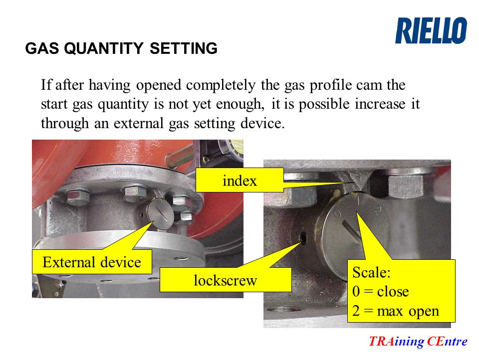 GAS QUANTITY SETTING TRAining CEntre If after having opened completely the gas profile cam the start gas quantity is not yet enough, it is possible increase it through an external gas setting device.