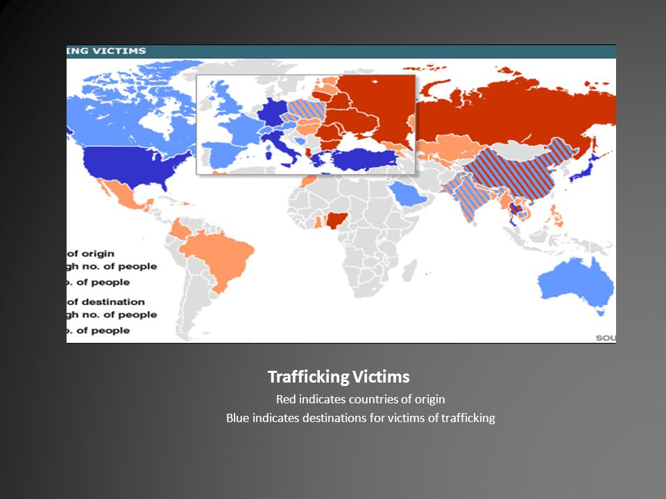 Trafficking Victims Red indicates countries of origin Blue indicates destinations for victims of trafficking