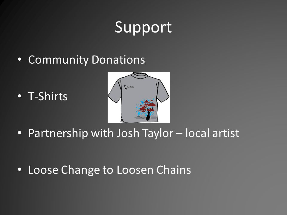 Support Community Donations T-Shirts Partnership with Josh Taylor – local artist Loose Change to Loosen Chains