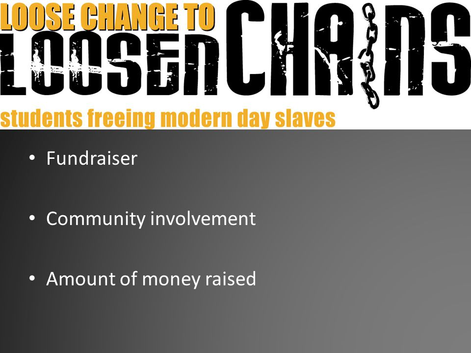 Loose Change to Loosen Chains Fundraiser Community involvement Amount of money raised