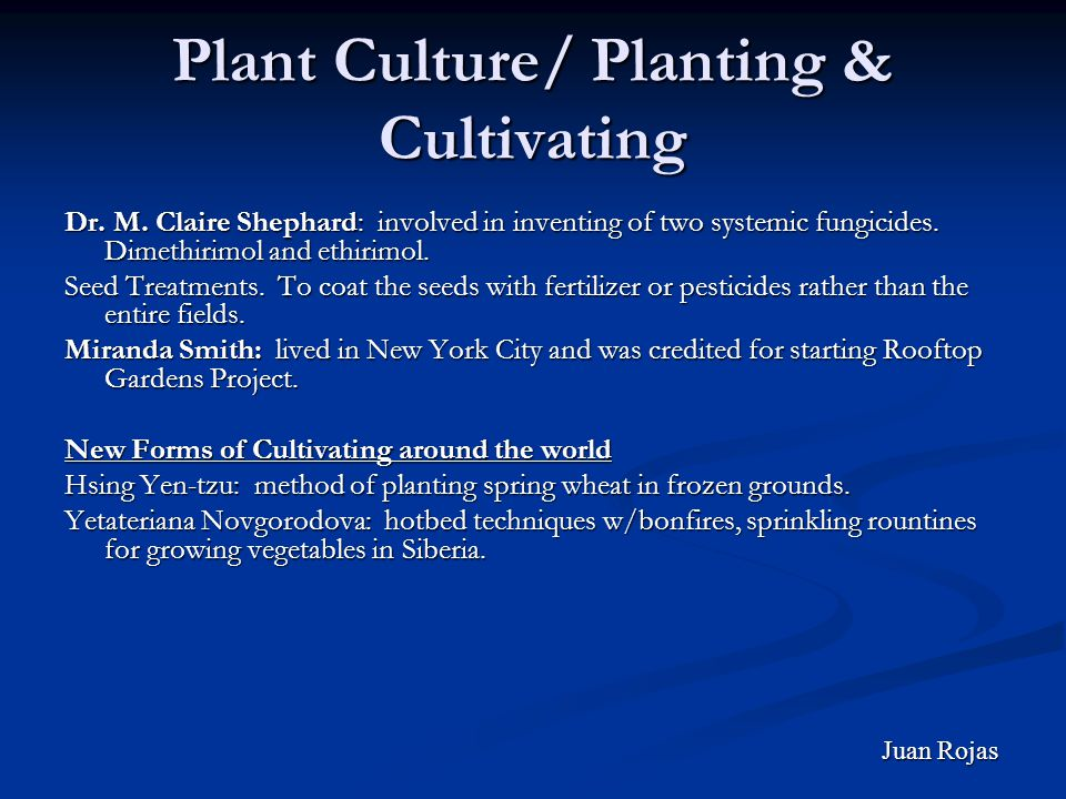 Plant Culture/ Planting & Cultivating Dr. M.