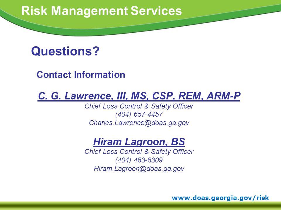 www.doas.georgia.gov/risk Risk Management Services Contact Information C.