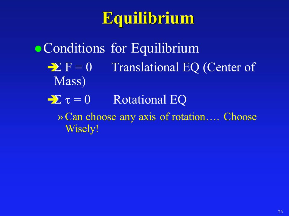 Example: Equilibrium A meter stick is suspended at the center.