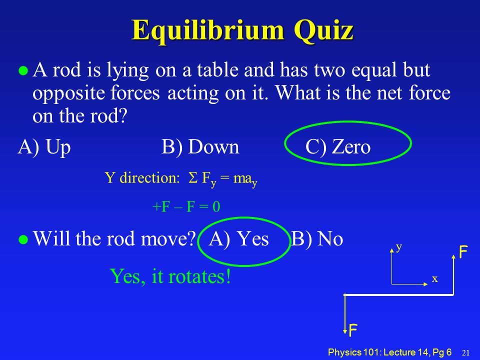 Physics 101: Lecture 14, Pg 7Equilibrium l Conditions for Equilibrium   F = 0 Translational EQ    = 0 Rotational EQ »Can choose any axis of rotation….