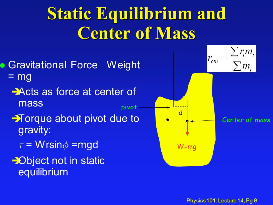 Physics 101: Lecture 14, Pg 9 Static Equilibrium and Center of Mass l Gravitational Force Weight = mg è Acts as force at center of mass è Torque about