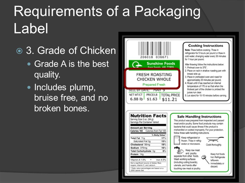 Requirements of a Packaging Label  3. Grade of Chicken Grade A is the best quality.