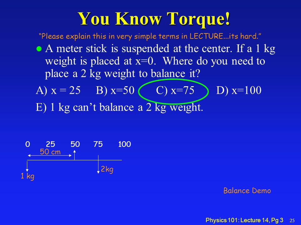 Physics 101: Lecture 14, Pg 14 Homework 8 Hints A 75 kg painter stands at the center of a 50 kg, 3 meter plank.