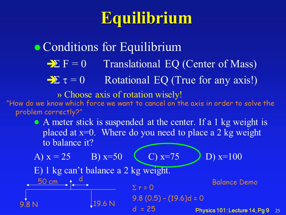 Physics 101: Lecture 14, Pg 9Equilibrium l Conditions for Equilibrium   F = 0 Translational EQ (Center of Mass)    = 0 Rotational EQ (True for an
