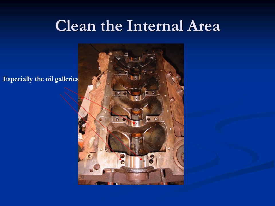 Clean the Internal Area Especially the oil galleries