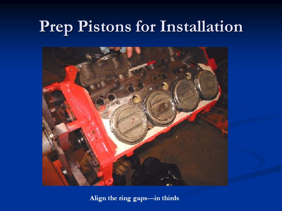 Prep Pistons for Installation Align the ring gaps---in thirds