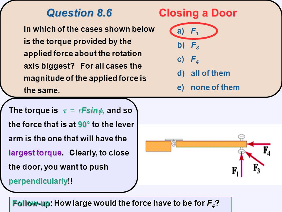 Question 8.6Closing a Door a) F 1 b) F 3 c) F 4 d) all of them e) none of them In which of the cases shown below is the torque provided by the applied