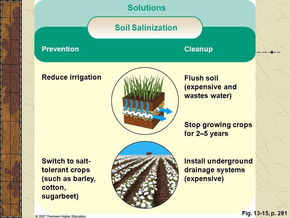 Salinization and Waterlogging of Soils: A Downside of Irrigation Example of high evaporation, poor drainage, and severe salinization.