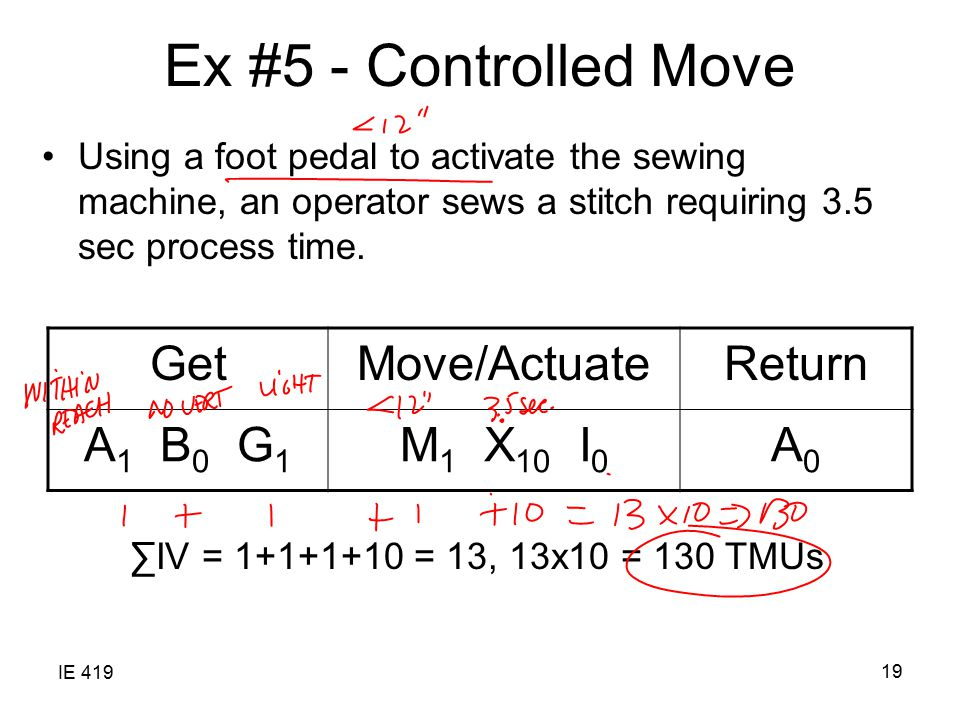 IE 419 19 Ex #5 - Controlled Move Using a foot pedal to activate the sewing machine, an operator sews a stitch requiring 3.5 sec process time.
