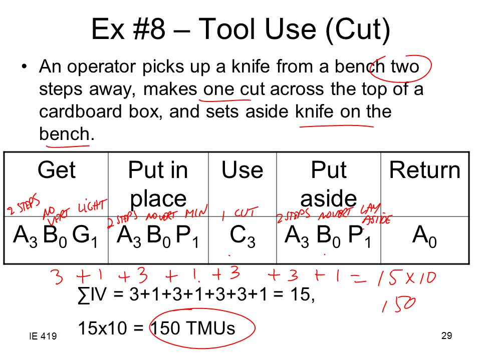IE 419 29 Ex #8 – Tool Use (Cut) An operator picks up a knife from a bench two steps away, makes one cut across the top of a cardboard box, and sets a