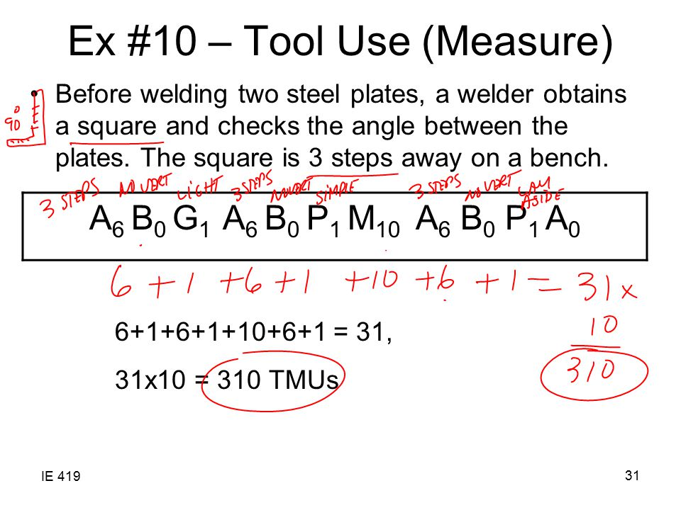 IE 419 31 Ex #10 – Tool Use (Measure) Before welding two steel plates, a welder obtains a square and checks the angle between the plates. The square i