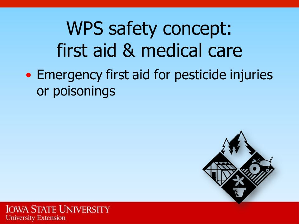 WPS safety concept: first aid & medical care Emergency first aid for pesticide injuries or poisonings