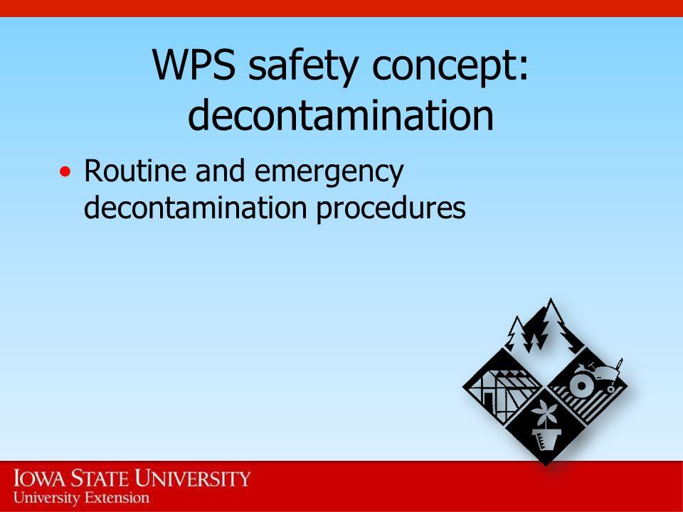 WPS safety concept: decontamination Routine and emergency decontamination procedures