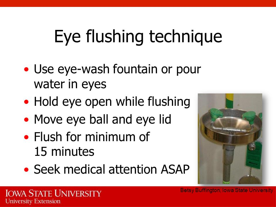Eye flushing technique Use eye-wash fountain or pour water in eyes Hold eye open while flushing Move eye ball and eye lid Flush for minimum of 15 minutes Seek medical attention ASAP Betsy Buffington, Iowa State University