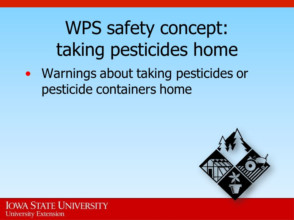 WPS safety concept: taking pesticides home Warnings about taking pesticides or pesticide containers home