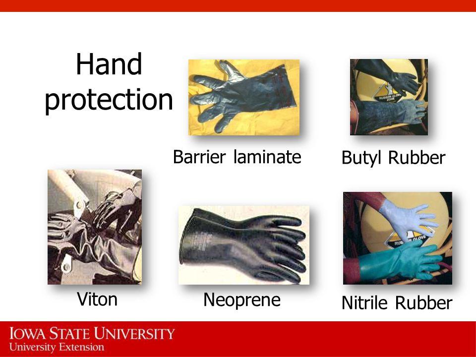 Hand protection Barrier laminate Butyl Rubber Nitrile Rubber Neoprene Viton