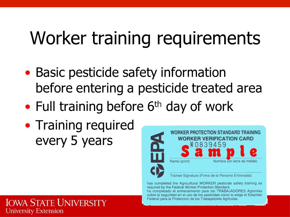 Worker training requirements Basic pesticide safety information before entering a pesticide treated area Full training before 6 th day of work Training required every 5 years