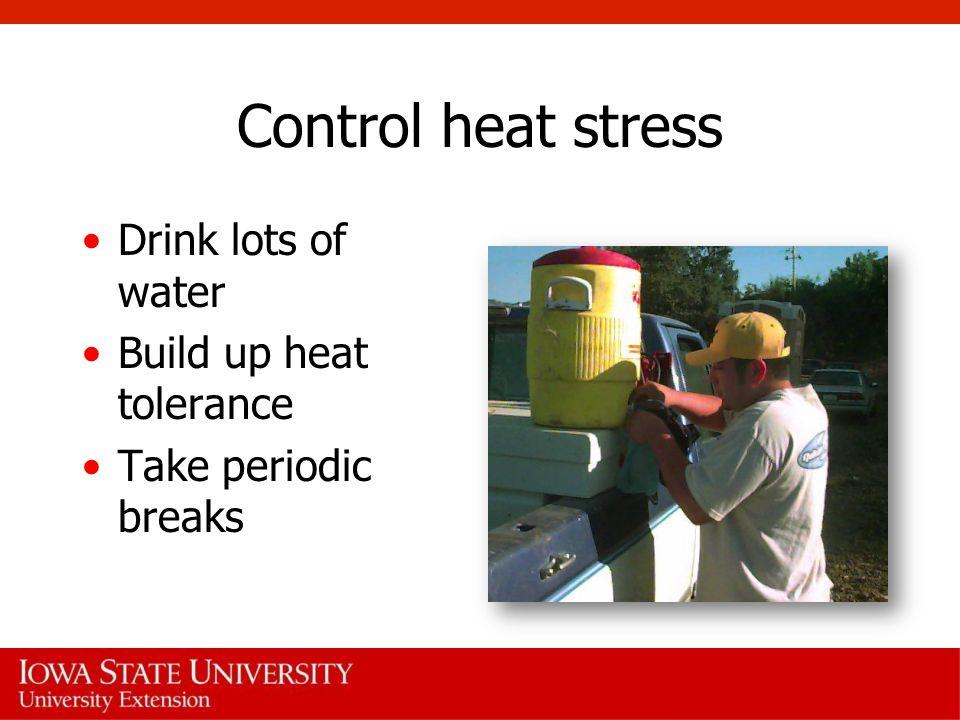 Control heat stress Drink lots of water Build up heat tolerance Take periodic breaks