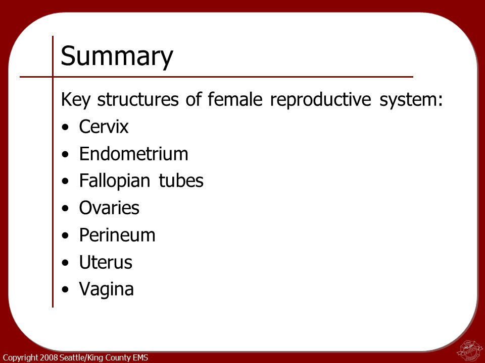 Copyright 2008 Seattle/King County EMS Summary Key structures of female reproductive system: Cervix Endometrium Fallopian tubes Ovaries Perineum Uteru