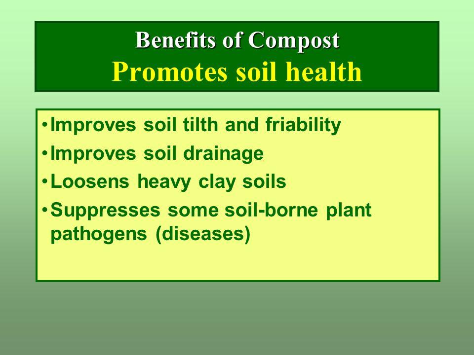 Improves soil tilth and friability Improves soil drainage Loosens heavy clay soils Suppresses some soil-borne plant pathogens (diseases) Benefits of C